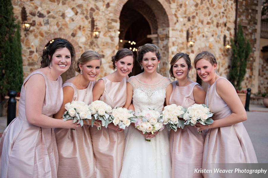 pastel fantasy wedding Cream rose bridesmaid bouquets