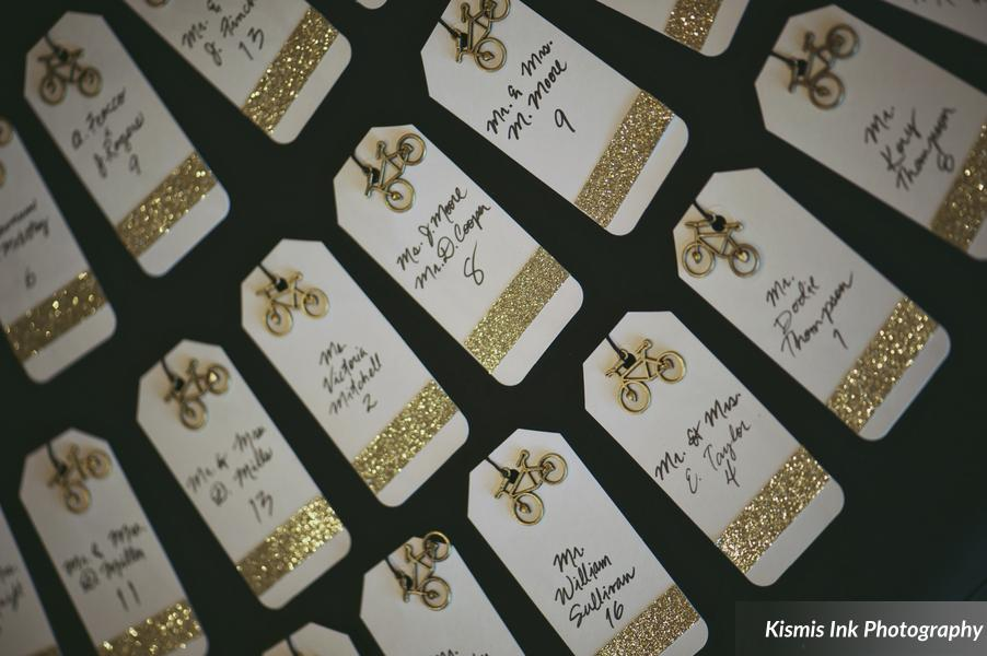 Gold bicycle escort cards