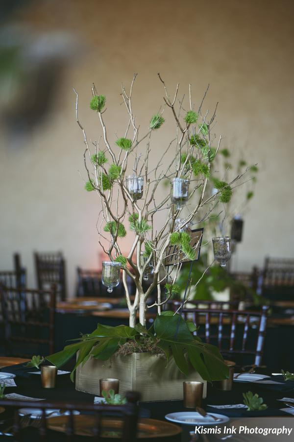 Green and gold centerpiece