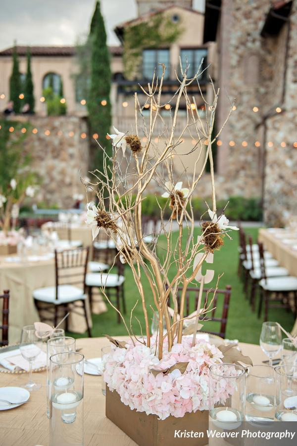 Pink and gold floral centerpiece
