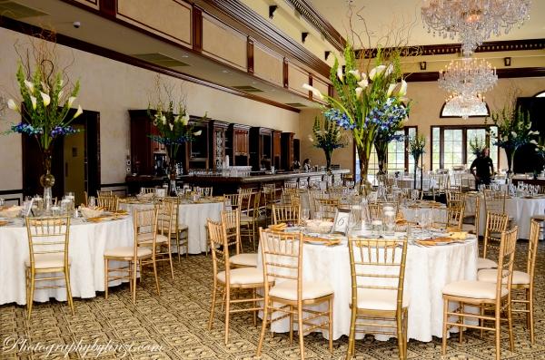Tall floral arrangements in Trump ballroom