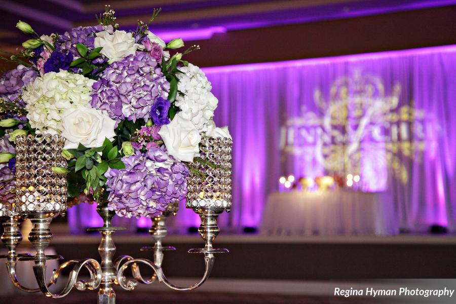 Purple wedding floral centerpieces