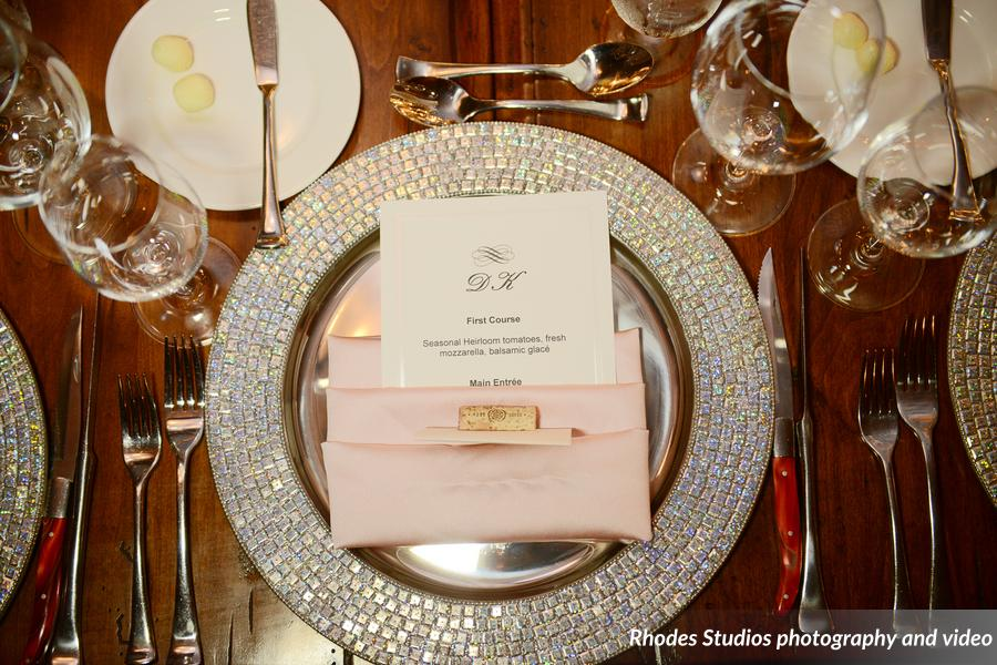 Sparkle Glass Charger Wedding Menu