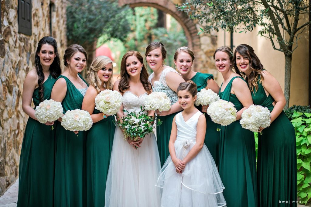 Green and White Wedding, Emerald Bridesmaid Dress-min