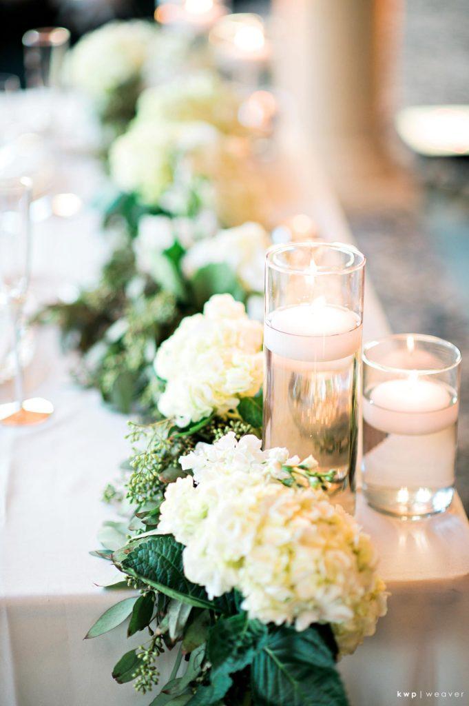 White Wedding, Floral Swag Centerpiece