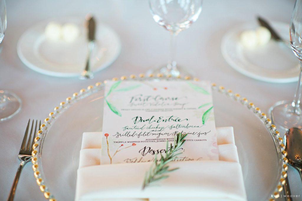 White Wedding, Watercolor Menu