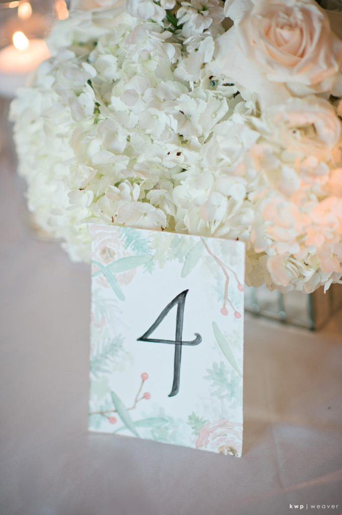 White Wedding Watercolor Table Number