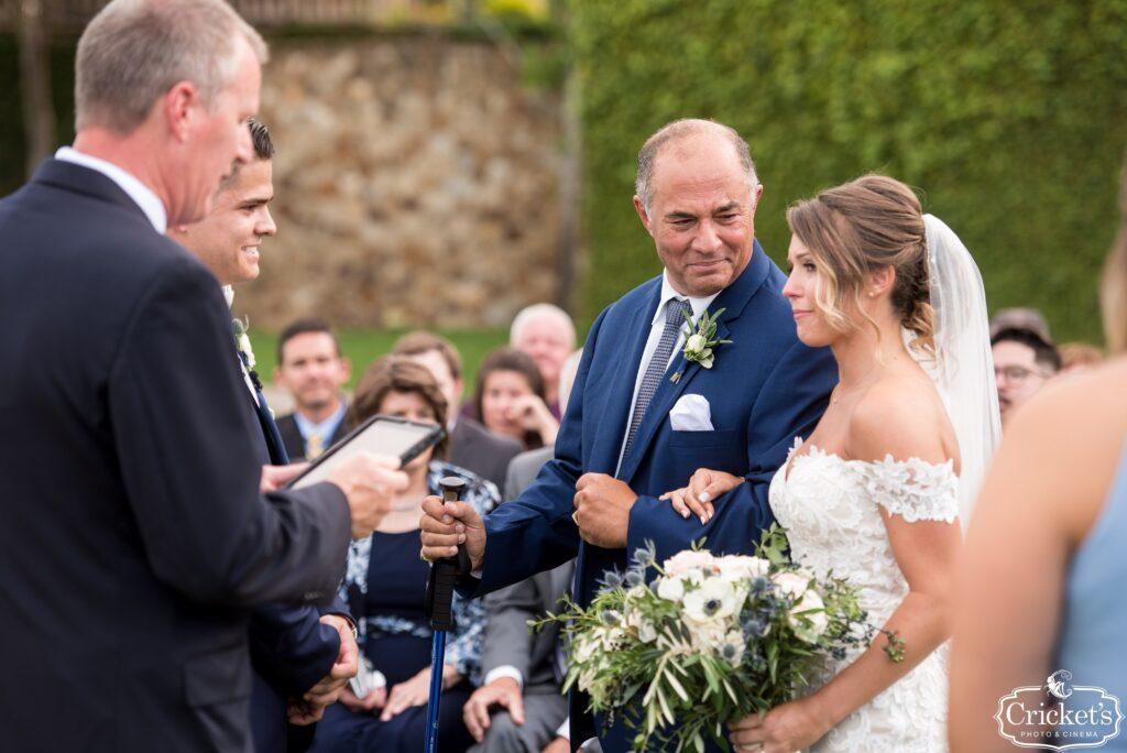 Giving Bride Away at Bella Collina Wedding Ceremony