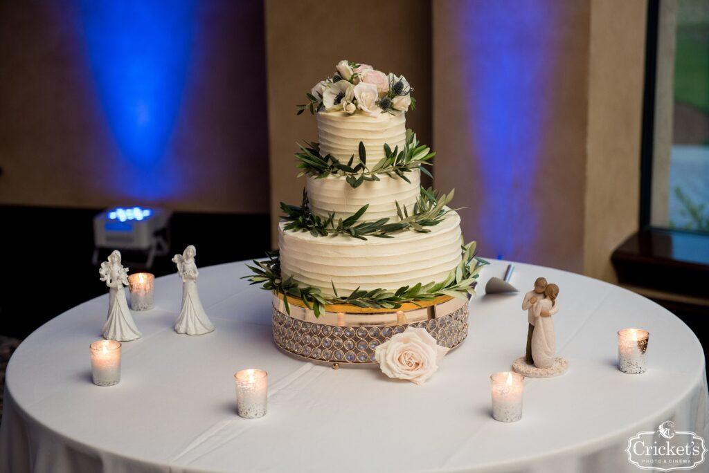 White and Greenery Wedding Cake