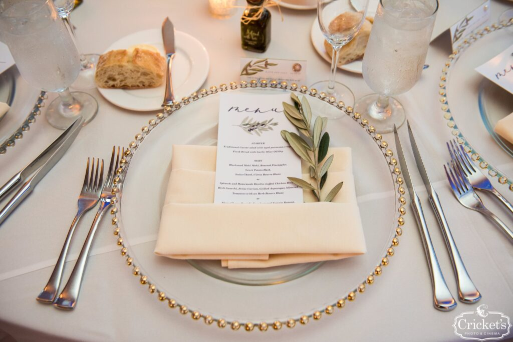 Place Settings at Bella Collina Wedding Reception